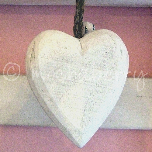 White Wooden Hanging Heart Wooden Hearts White Rustic